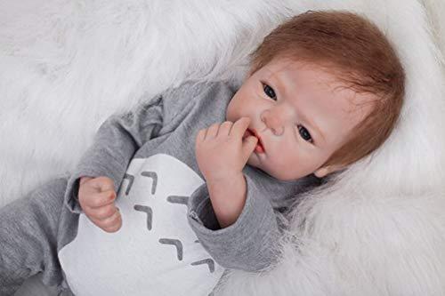 ZIYIUI 22inch 55 cm Muñeca Reborn Bebé Niño Pequeño Suave Silicona Vinilo Realista Reborn Baby Doll Niñas Juguetes Bebes Recien Nacidos Ojos Abiertos Recién Nacido Niño