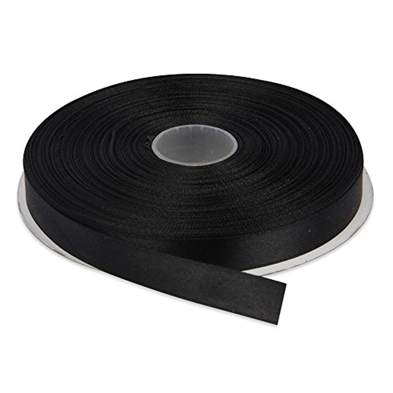 Topenca Supplies 1/2 Inches x 50 Yards Double Face Solid Satin Ribbon Roll, Black