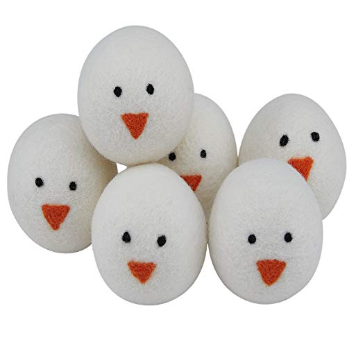 Dryer Balls Laundry Anti Static Reusable - 6 XL Pet Hair Removal Wool Balls, Organic Fabric Softener Dog Cat Hair Remover Wrinkle Free Lint Roller, Handmade Snowman Home Decoration Cat Dog Toy Balls