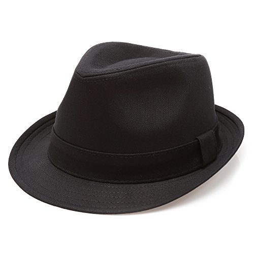 MIRMARU Classic Trilby Short Brim 100% Cotton Twill Fedora Hat with Band(Black,SM)
