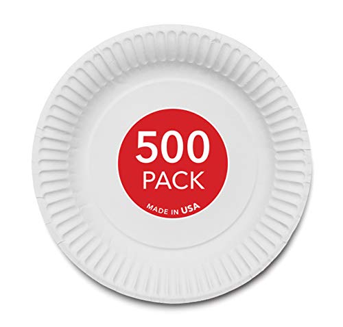 Stock Your Home 9-Inch Paper Plates Uncoated, Everyday Disposable Plates 9' Paper Plate Bulk, White, 500 Count