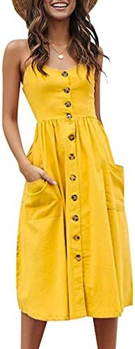 Halife Womens Summer Dresses Casual Knee Length Button Down Skater Dress with Pockets Yellow product image