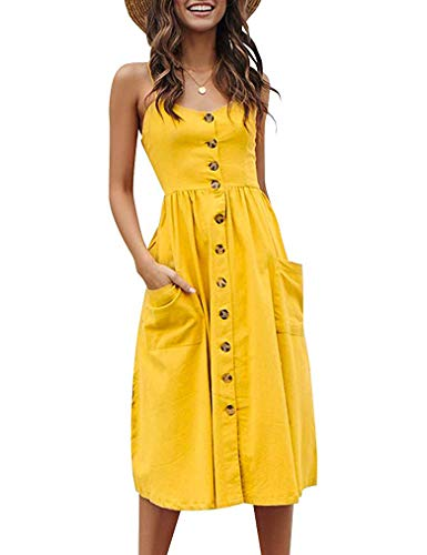 Halife Womens Summer Dresses Casual Knee Length Button Down Skater Dress with Pockets Yellow L