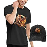 Kalinanai T-Shirts, T-Stücke, The Hunger Games Men's Classic T-Shirt mit Washed Denim Baseball Hat Schwarz