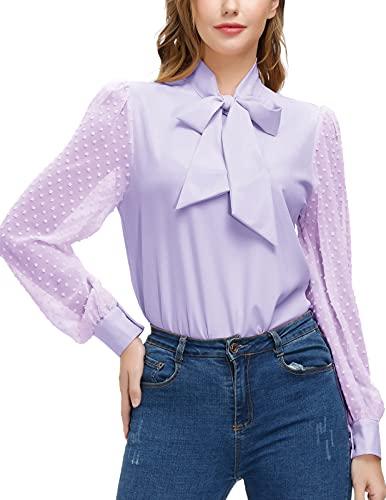 Kate Kasin Womens Office Tops Long Sleeve Bow Tie Neck Blouse Swiss Dot Shirt Purple 2XL