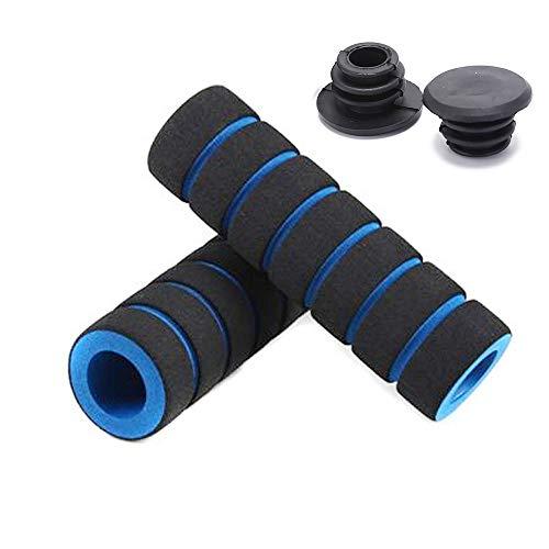 Ikaar, 1 coppia di manopole universali per manubrio della bicicletta, 20 mm, in spugna, antiscivolo e morbido, con tappi per manubrio per bicicletta, mountain bike, BMX, MTB galleggiante, colore: blu