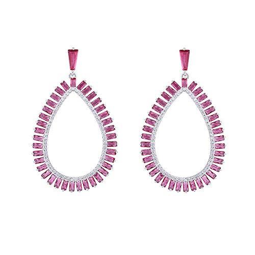 Taladro de color de anillo Pendientes de mujer Plata de ley 925 5A zircona cúbica propiedades características Pendientes Regalo Antiafilaxia
