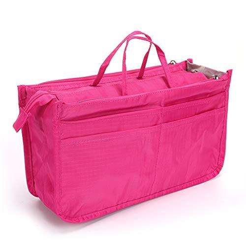IGNPION Printed Insert Handtasche Organizer 13 Taschen erweiterbar Liner Bag Pouch Reißverschluss Tote Organizer Wickeltasche Insert mit Griff (Pink)
