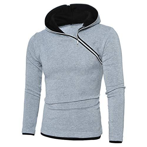 PRJN Men's Hoodie Diagonal Zipper Design Long Sleeve Hoodie Casual Hoodie Outdoor Sweatshirt Men Fashion Diagonal Zipper Design Hooded Raglan Sleeve Long Sleeve Sweatshirt Men's Casual Hoodie Gray