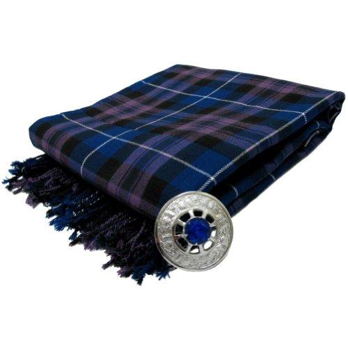 Tartanista - Herren Fly Plaid mit Schmuckstein-Brosche - ideal geeignet für Kilts von Dudelsackspielern - Honour Of Scotland