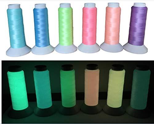 1000Meter Glow in The Dark Näh-Garn LeuchtGarn Schnur – Fluoreszierender Stickgarn – 100Gramm – Nachleuchtend/Leuchtet im Dunkeln – Nachtleuchtgarn – +12 Farben Auswahl+ (Weiss - Nr.1)