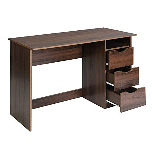 Aingoo Computer Desk with 3 Drawers Large Home Office Desk PC Laptop Study Workstation Gaming Table 110 * 50cm, Walnut