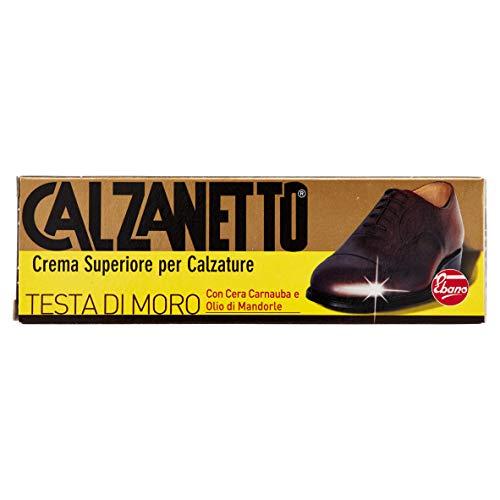 Calzanetto, Lucido calzature in Tubetto, con cere pregiate, facile applicazione, nutrimento, lucentezza, idro repellente, colore Testa di Moro, 50 ml