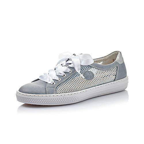 Rieker Damen Low-Top Sneaker L59D6, Frauen Halbschuhe,Turnschuhe,Laufschuhe,schnürschuhe,schnürer,Plateausohle,Women's,blau Kombi (13),39 EU / 6 UK