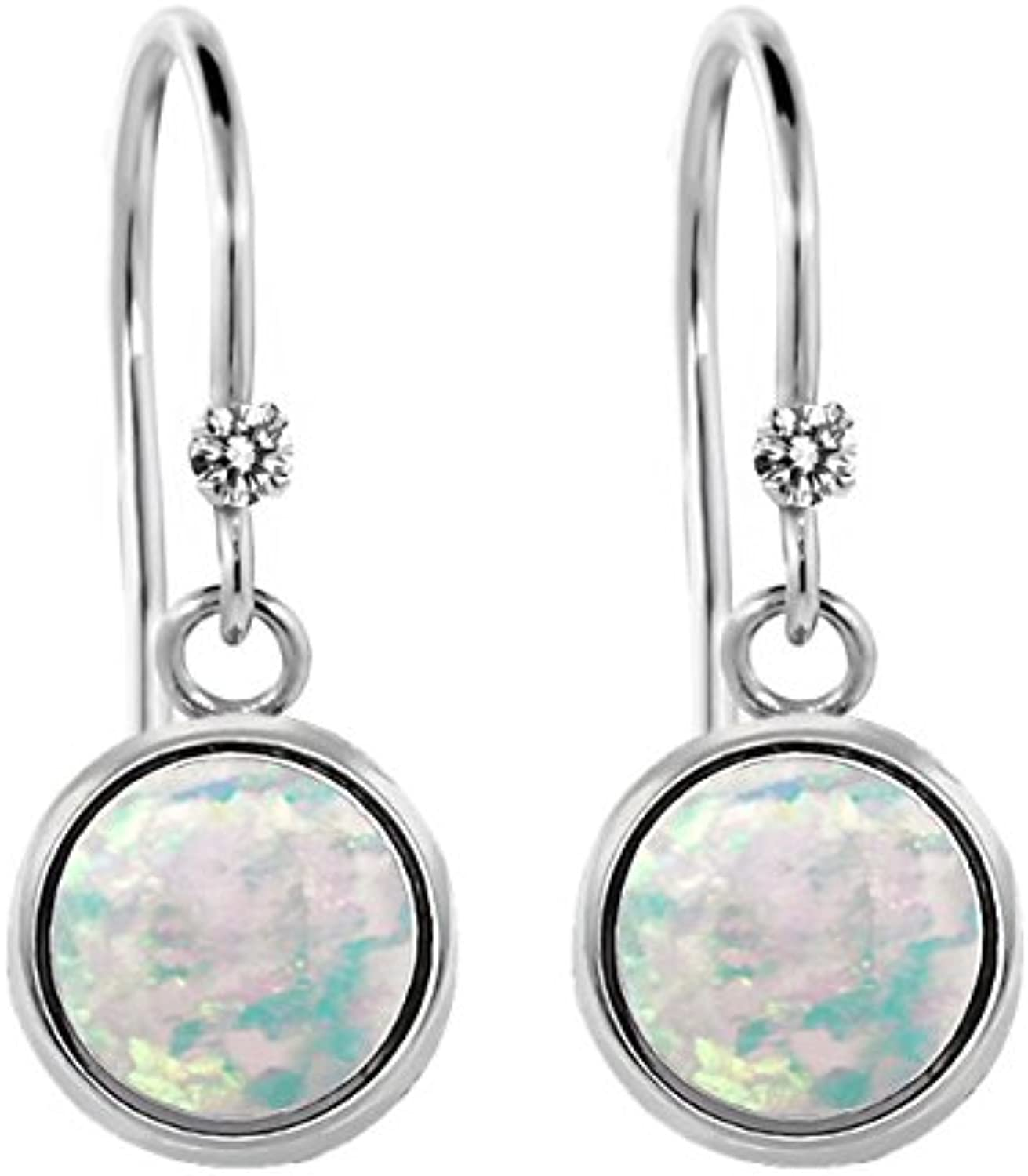 1.32 Ct Round White Simulated Opal White Diamond 925 Sterling Silver Earrings