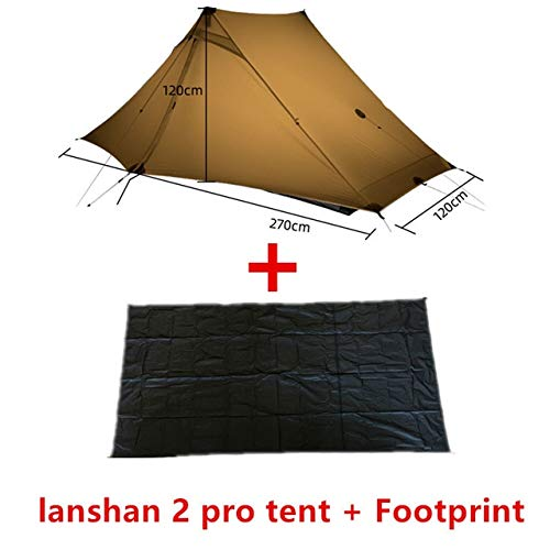 Mdsfe 3F UL GEAR LanShan 2 pro Tent 2 Person 3 Season Outdoor Ultralight   Professional 20D Nylon Both Sides Silicon Camping Tent-4 Season Khaki Suit