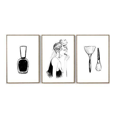 Vogue Chica Poster Imprimir LáPiz Labial UñAs Polaco Pared Arte Lienzo Pintura Negro Blanco Cuadro Moda Salon HabitacióN Chica Dormitorio Decoracion 30x40cmx3 No Marco