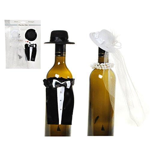 Bruiloft flessen bekleding huwelijksgeschenk pak en bruidsjurk voor wijn, wijnfles