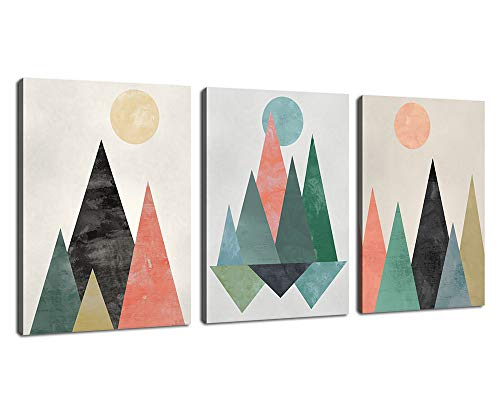 Abstract Canvas Wall Art Triangles Sunset Sunrise Abstract Geometry Mountains Canvas Picture Artworks for Bedroom Living Room Bathroom Kitchen Wall Decor 12' x 16' 3 Pieces Framed Ready to Hang