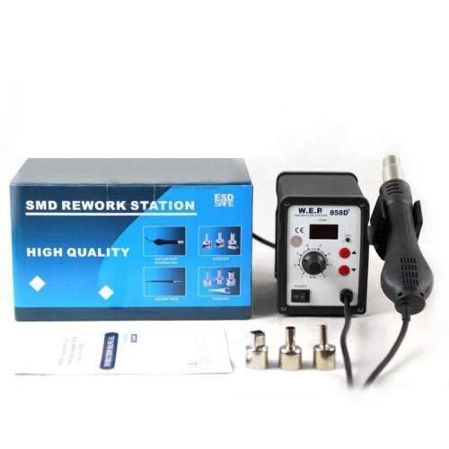 Lötstation, Heißluft Lötstation Entlötstation Rework Station 858D Heißluft-Überarbeitungsstation LED Digital Temperatur-Anzeige 100~500°C 700W mit 3 Düsen