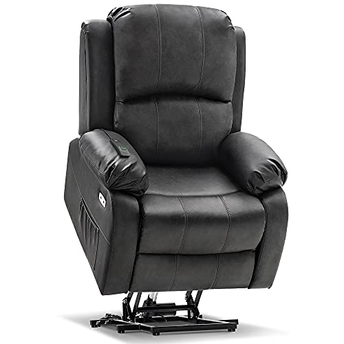 Mcombo Small Size Electric Power Lift Recliner Chair Sofa with Massage and Heat for Small Elderly People Petite, 3 Positions, 2 Side Pockets, USB Ports, Faux Leather 7409 (Small, Grey)