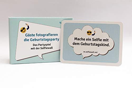 Partyspiel, 100 Karten mit lustigen Selfie-Fotoaufgaben, Spiel für Geburtstagsparty, Runder Geburtstag, Fotospiel mit Selfies, Gäste unterhalten
