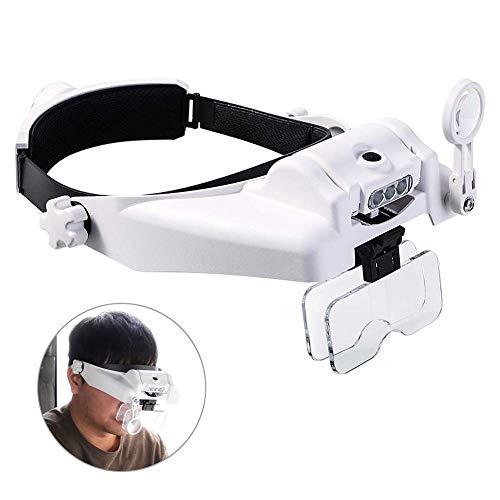 Pixier LED Lupenbrille Kopflupe mit Licht Kopfband Lupen Vergrößerungsbrille Kopfbandlupe Stirnlupe Brillenlupe mit Beleuchtung für Brillenträger, Lesen, Handwerk, Juweliere, Nähen, und Reparatur