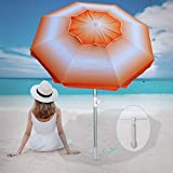 AMMSUN 6.5 ft Beach Umbrella with Tilt Aluminum Pole Separate Sand Anchor, Portable Windproof Beach Umbrella with UPF50+ Protection, Easy Carry Bag Included (Orange/White)