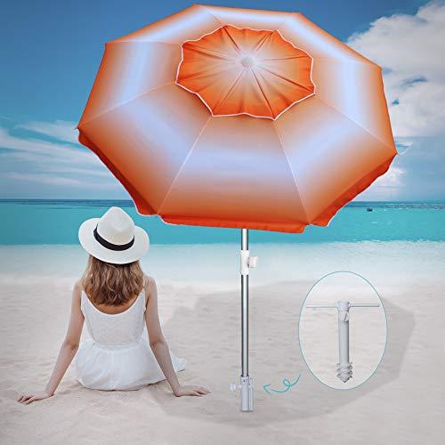 AMMSUN 6.5 ft Beach Umbrella with Sand Anchor, Portable Beach Umbrella for Sand Heavy Duty Wind, UV 50+ Sun Protection Umbrella for Beach Patio Garden Outdoor, Carry Bag (Orange)