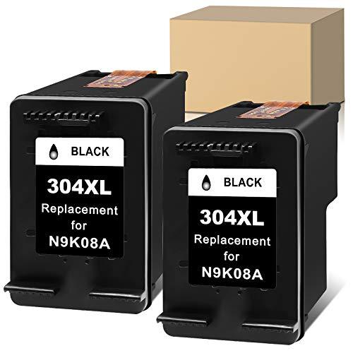 Sunnieink - Cartucho de tinta remanufacturado para HP 304 XL 304XL para impresora HP Envy 5020 5010 5030 DeskJet 2600 2630 2620 3720 2633 2622 2632 3733 2634 AMP 130 (2 Negro)