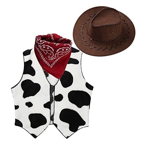 Alvivi Disfraz Cowboy Cowgirl para Nio Nia Chaleco Invierna Estampado Vacas+Sombrero Vaquero+Pauelo Disfraz Vaquero Nio de Halloween Modelo C 3 aos