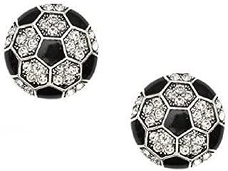 Soccer Earrings Studs Crystal Rhinestone Post Silver 1/2 inch by Kenz Laurenz