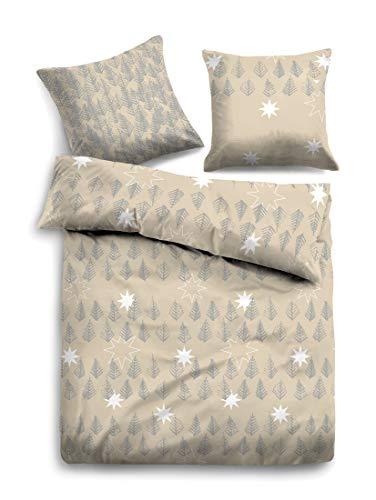 TOM TAILOR Unisex Heimtextilien & Bettware Bettwäsche mit Winter-Motiv beige,135/200