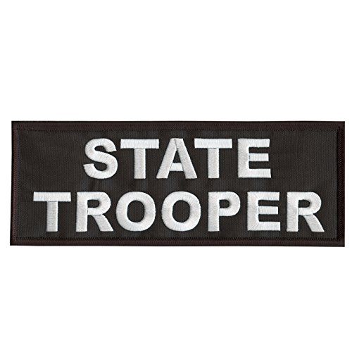 2AFTER1 State Trooper Large XL 10x4 inch Body Armor Tactical Embroidered Hook/&Loop Patch