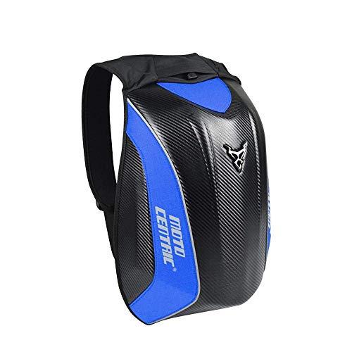 BQT Radfahren Rucksack Multi-Funktions-Motorrad-Hard-Shell-Tasche, Kohlefaser Rucksack Outdoor-Rucksack 100% Wasserdicht,Blue
