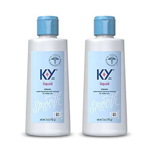 K-Y Liquid Personal Lubricant 5 oz, Premium Natural Feeling Water-Based Lube For Men, Women & Couples (Pack of 2)