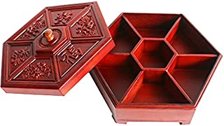 Dried fruit box ZZSIccc Redwood Candy Box Home Living Room Dried Fruit Plate Compartment With Cover Chinese New Year Snack Box Solid Wood Chinese Melon Storage Box