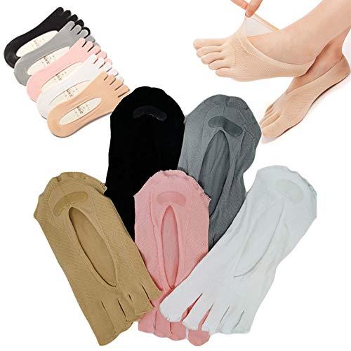 LINPING 10 pares de calcetines suaves y transpirables con punta dividida, calcetines de compresión ortopédicos, calcetines con punta para mujer, forro de corte ultrabajo con lengüeta de gel