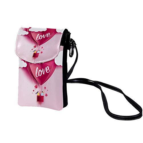 Mini Bolso de Teléfono Móvil Globo Origami Rosa Bandolera Mujer Niña Pequeño Bolsa de Hombro Con múltiples ranuras para tarjetas 19x12x2cm