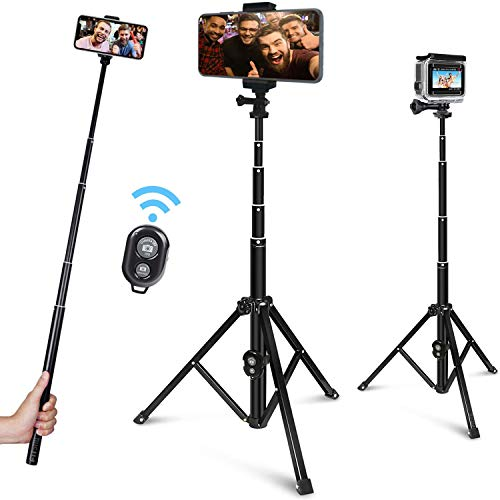 FitStill 51-inch Selfie Stick Tripod, Detachable and Extendable Phone Tripod for Cell Phone, Compatible with Gopro, iPhone and Android Phone, Includes Wireless Remote, Cell Phone Holder