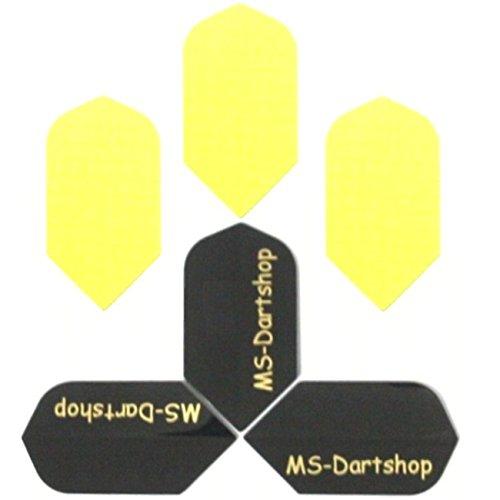 MS-DARTSHOP Dart-Flights Nylon Slim, 3 Sätze = 9 Stück, incl. 1 Satz MS-DARTSHOP Flights (Neon-Gelb)