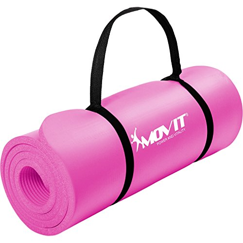 Movit Pilates Gymnastikmatte, Yogamatte, phthalatfrei, 183 x 60 x 1,0cm, Yoga Matte in Pink
