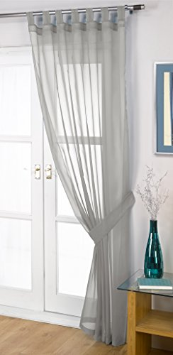 John Aird Woven Voile Tab Top Curtain Panel - Free Tieback Included (Silver/Grey, 60' Wide x 72' Drop)
