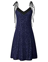 Navy Blue and Black A-Line Prom Dress with Tie Shoulder Straps