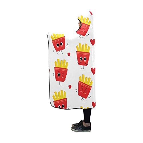 JOCHUAN Hooded Blanket French Fries Niedliche Decke 60 x 50 Zoll Comfotable Hooded Throw Wrap