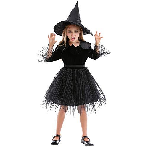 Disfraces para niños Material de lana de algodón niña traje de vestido de princesa esponjoso pequeña bruja familia de padres e hijos adecuado para la fiesta escolar de Halloween COSPLAY,Black,XS