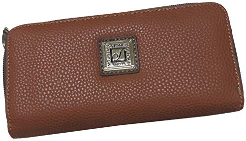 Stone Mountain Cornwell Leather Checkbook Wallet Cognac Brown