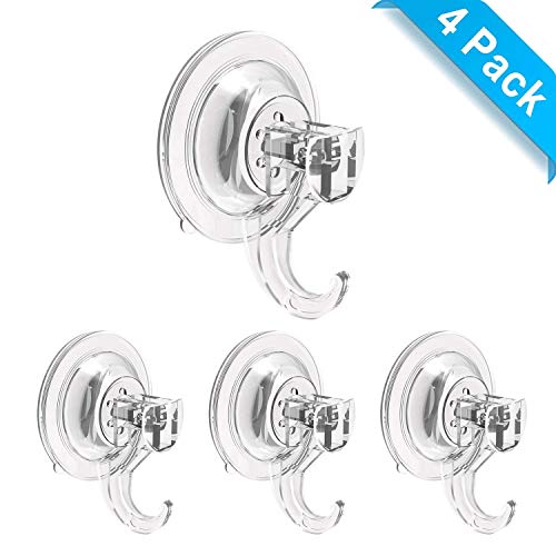 Elktry Vacuum Suction Hooks Heavy Duty - Suction Cup Hooks for Shower, Window Suction Cups with Hooks, Suction Cup Towel Hook for Shower, Suction Shower Hooks, Tile Suction Hook Waterproof (4 Pack)