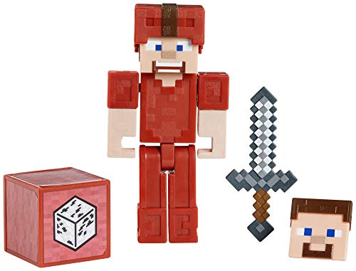 """Minecraft Earth 3.25"""" Steve in Red Leather Figure"""