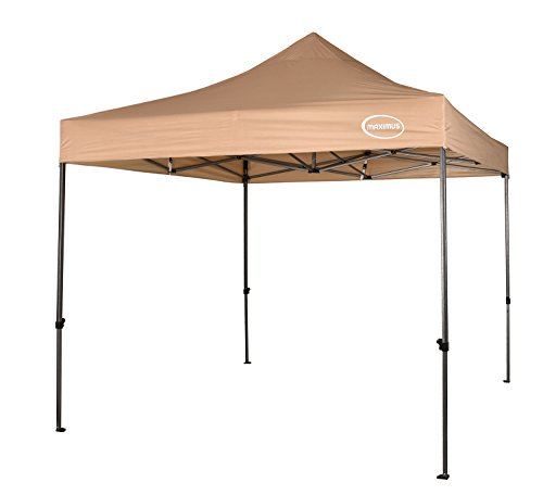 MAXIMUS HEAVY DUTY GAZEBO 3m x 3m HIGH QUALITY GAZEBO MARKET STALL POP UP TENT (NS) [Blue*Black*Green*Beige] (Beige)